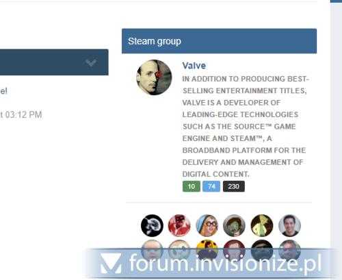 Zrzut ekranu dla Steam group